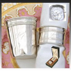"Antique French Sterling Silver Wine Cup or Timbale & Napkin Ring Set in Box, ""Louis"" Inscription"