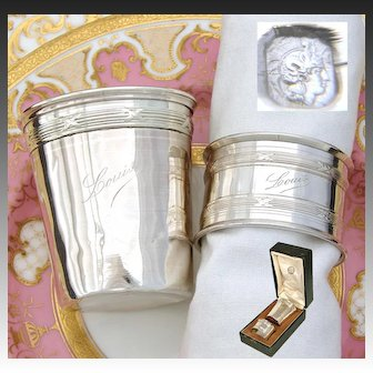 """Antique French Sterling Silver Wine Cup or Timbale & Napkin Ring Set in Box, """"Louis"""" Inscription"""