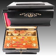 Antique French Sewing Box, Chest, Casket, All Original Tools, Jars, Napoleon III Era, c.1850-70