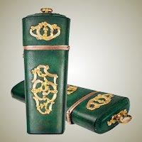 Antique c.1700s Shagreen Nécessaire, 18k Gold Mounts, Gentleman's Vanity Case, Etui