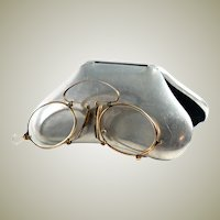 Antique 14K Gold Folding Spectacles, Pince Nez Reading Glasses and Aluminum Case, c.1880s