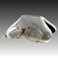 Antique 14K Gold Folding Spectacles, Pince Nez Reading Glasses and Aluminum Case, c.1880s