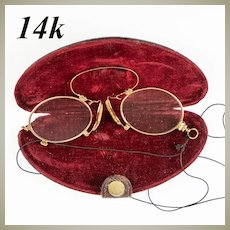 Antique 14k Gold Pince Nez Folding Spectacles, Reading Glasses, in Original Case, EC