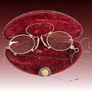 Antique 14k Gold Pince Nez Folding Spectacles, Reading Glasses, in Original Case, EC