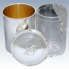 Rare Antique French Sterling Silver 3pc Tumbler with Inner Intaglio Glass & Silver Lidded Jar