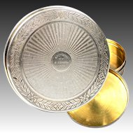Antique French Sterling Silver and 18k Gold Vermeil Snuff Box, 8 February, 1919 Souvenir