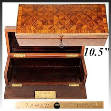 Fine Antique French TAHAN Glove Box, Kingwood Parquet, Napoleon III Era (1850-70)