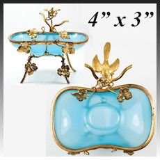 Antique French Opaline & Ormolu Trinket, Pocket Watch Stand with Bird & Leaves, Palais Royal