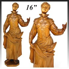 "Vintage Hand Carved Wood 16"" Figural Sculpture, Woman in Brittany Style Costume"