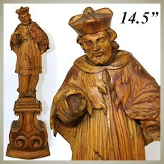 """Lg Antique Carved Wood 14.5"""" Black Forest Style Religious Sculpture, Cardinal ? Figure"""