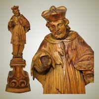"Lg Antique Carved Wood 14.5"" Black Forest Style Religious Sculpture, Cardinal ? Figure"