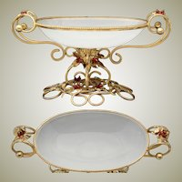 Antique French Napoleon III Era Gilt Ormolu & White Opaline Glass 'Vide Poche' or Bonbon, Leaves, Glass Berries