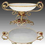 Antique French Napoleon III Era Gilt Ormolu & White Opaline Glass 'Vide Poche' or Bonbon, Leaves, Glass Berries