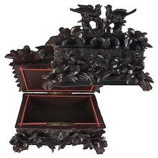 "Antique HC Black Forest 11"", Document, Jewelry Box, Casket w Elaborate Forest Body, Birds"