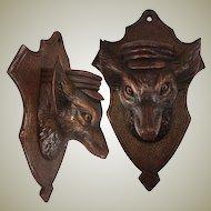 Antique HC Black Forest Animalier Carving, Dog is a Cigar & Match Holder or Spill Vase