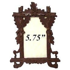 """Antique Black Forest Carved 6"""" Carte de Visite Picture Frame, Acorns & Oak Leaves"""