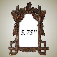 """Lovely Antique Black Forest Carved 5 3/4"""" Picture Frame, Acorns & Oak Leaves"""