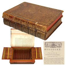 "Vintage French Leather Bound Books Smoker's Box, Presenter for Cigars, ""Histoire de France"""