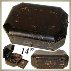 """Antique Victorian Era Chinese Export Lacquer 14"""" Sewing Box, Chest with Fittings & Drawer"""