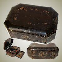 "Antique Victorian Era Chinese Export Lacquer 14"" Sewing Box, Chest with Fittings & Drawer"