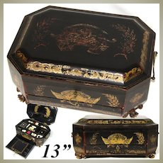 Antique Victorian Chinese Export Lacquer Sewing Chest, Box, Gold Enamel Figures, Many Implements