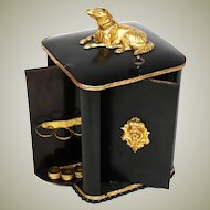 Lovely Antique French Napoleon III Era Cigar Caddy, Carousel Type with Dog Figure