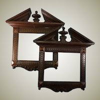"PAIR (2) French Antique HC Wood Frames, 16"" x 14.75"" (aperture: 9"" x 7""), Walnut, Hardwood"
