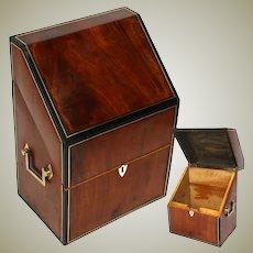 Antique Georgian to Victorian Cutlery Box, Chest, Walnut & Ebony with Brass Inlays