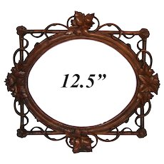 "LG Antique Victorian Era Black Forest Carved 12.5"" Picture Frame, Pierced Vines & Foliage"
