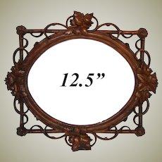 "LG Antique Victorian Era Black Forest Carved 12.5"" Picture Frame, Pierced Vines & Foliage"