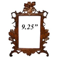 "Antique Victorian Era Black Forest Carved 9.25"" Picture Frame, Pierced Vines & Foliage"