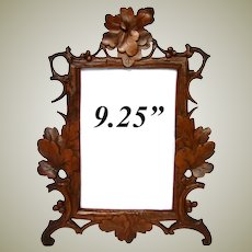 "Antique Victorian Era Black Forest Carved 9.25"" Picture Frame, Pierced Vines & Foliage"
