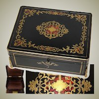 "Elegant Antique French Napoleon III 11.5"" Writer's Work Box, Ornate Boulle Inlay"