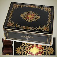 "Elegant Antique French Napoleon III 11.5"" Writer's Work Box, Ornate Boulle Inlay"
