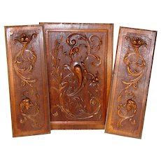 Antique French Renaissance Revival Style 3pc Carved Walnut Panel Set, Furniture or Architectural