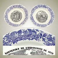 Charming Antique French Choisy le Roi 2pc Cabinet Plate Set, 1878 Expo Souvenir