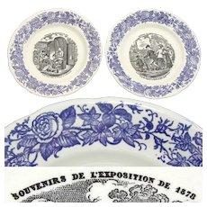 Charming Antique French Choisy le Roi 2pc Cabinet Plate Set, 1878 Expo Souvenir