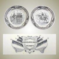 Fine Antique French Sarreguemines 2pc Cabinet Plate Set, Military Theme Figural Scenes