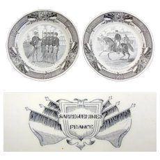 Fine Antique French Sarreguemines 2pc Cabinet Plate Set, Military Theme Figural Scenes