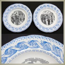 "Antique French Gien 2pc Cabinet Plate Set, Figural Scenes, ""Exposition Universelle 1878"""