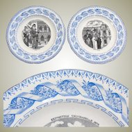 """Antique French Gien 2pc Cabinet Plate Set, Figural Scenes, """"Exposition Universelle 1878"""""""