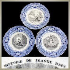 "Antique French Gien 3pc Cabinet Plate Set, Figural Scenes, ""Histoire de Jeanne D'Arc"", Joan of Arc"