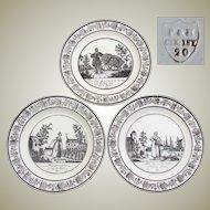 """Antique Choisy 3pc Cabinet Plate Set, Figural, """"Cries de Paris"""", Country French Laborer Scenes"""