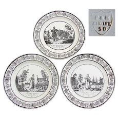 "Antique Choisy 3pc Cabinet Plate Set, Figural, ""Cries de Paris"", Country French Laborer Scenes"