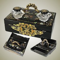 Rare Antique Victorian Papier Mache Standish Style Writer's Box, Inkwells, Hand Painted with Pearl Inlay