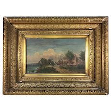 "Antique Artist Signed French Oil Painting, c.1882, Fontainebleau School Ornate Frame 19.5"" x 15"" x 3"""