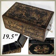 "Rare Antique Victorian Era Chinese Export Lacquer 19.5"" Writer's Chest, Lap Desk, Gold Enamel"