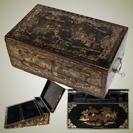 "Rare Antique Victorian Era Chinese Export Lacquer 19.5"" Writer's Chest, Lap Desk, Gold Enamel"