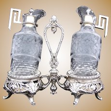 Antique French Sterling Silver & Cut Glass Solitaire Oil & Vinegar Cruet Stand, Burette