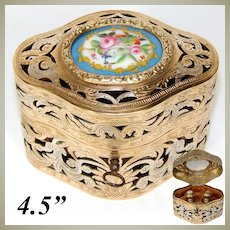 """Antique French Reticulated Bronze 4.5"""" Scent Caddy, Floral Porcelain Medallion, Eglomise Perfume Bottles"""